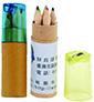 16-ABE0865300-MD桶裝六色木頭廣告鉛筆+削筆器
